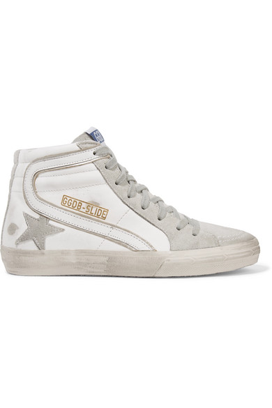 5960c0072897 Golden Goose Slide Distressed Leather And Suede High-Top Sneakers In White
