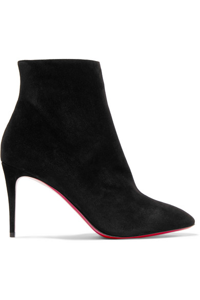 663dbb1c77eb Christian Louboutin Eloise Suede Red Sole Booties In Black