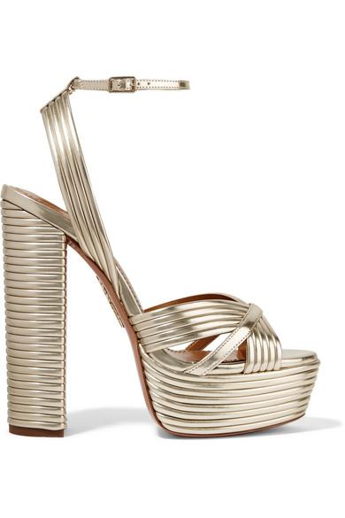 50f6fd62404 Aquazzura Sundance Plateau Metallic Platform Sandals