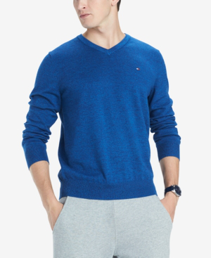 cb9599703 Tommy Hilfiger Men's Signature Solid V-Neck Sweater, Created For Macy's In  Blue Depths