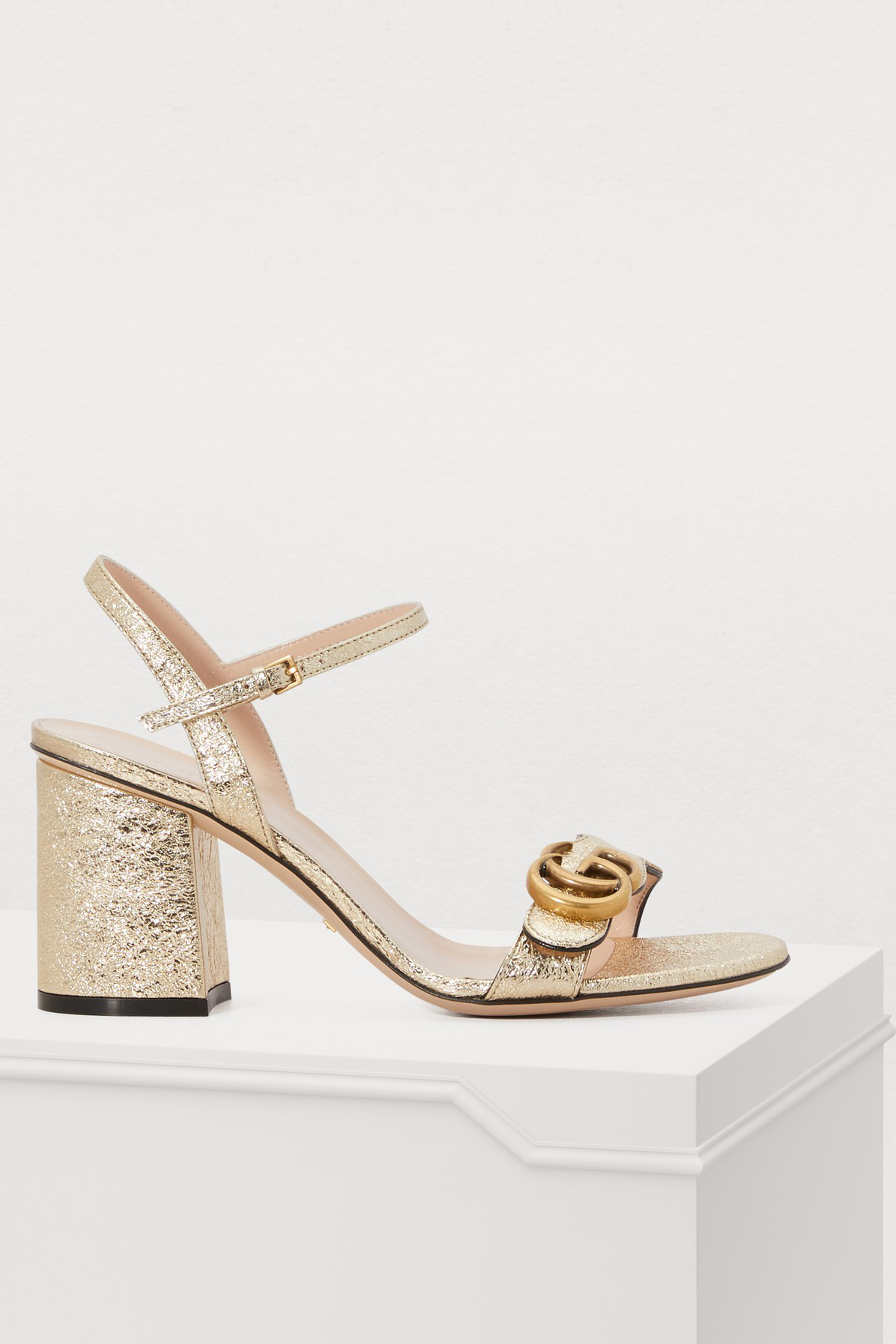40b0c18112d Gucci Marmont Logo-Embellished Metallic Cracked-Leather Sandals In Gold