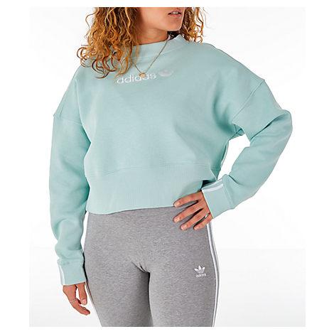 ef6750fefe Adidas Originals Women's Originals Coeeze Cropped Sweatshirt, Blue In  Vapour Green