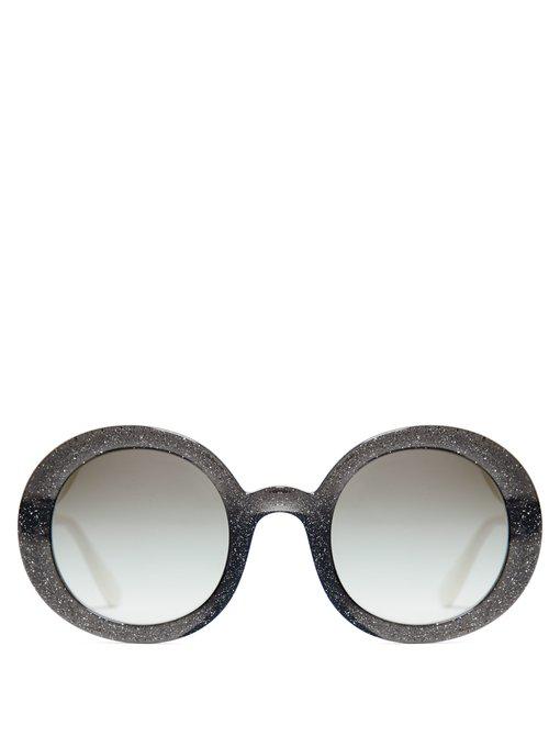 d4692385974 Miu Miu Round-Frame Glitter Acetate Sunglasses In Black