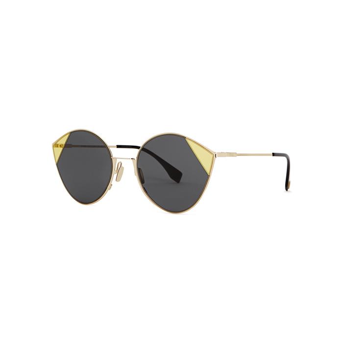 3eac7b6e0ab Fendi Cut-Eye Gold-Tone Sunglasses In Grey