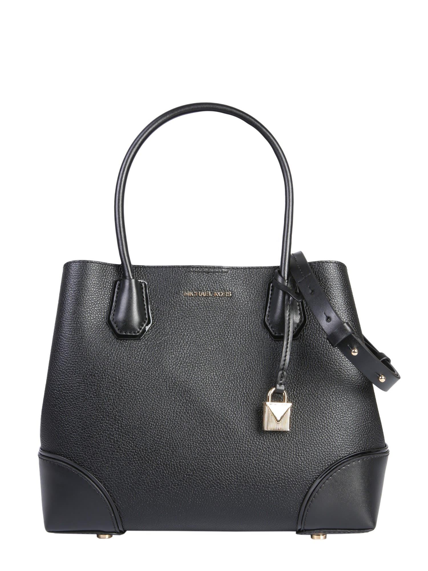 1698d4f740da3 Michael Michael Kors Mercer Gallery Large Pebbled Snap Tote Bag In 001 Black