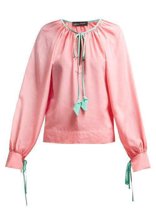 6635fca2d02717 Anna October - Contrast Trim Silk Blouse - Womens - Pink Multi ...