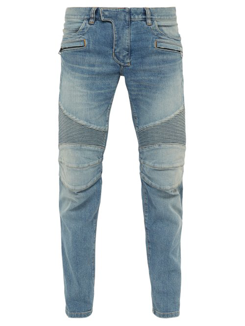 7fe3c3e9 Balmain Men's Tapered Bleach Biker Denim Jeans In Blue   ModeSens