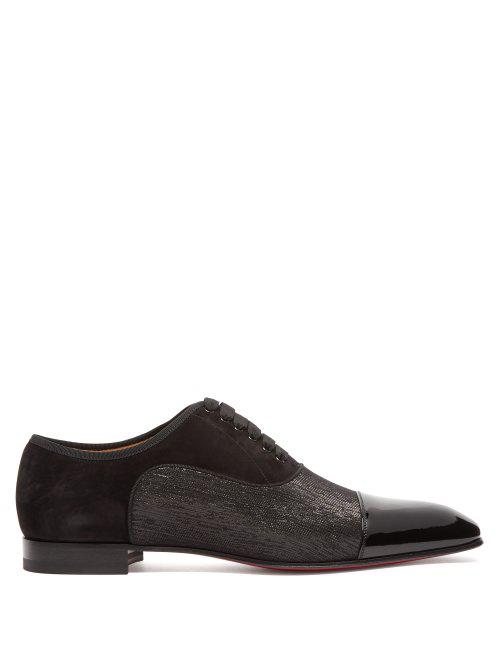 Christian Louboutin Greggo Orlato Patent-Leather Oxford Shoes In Black