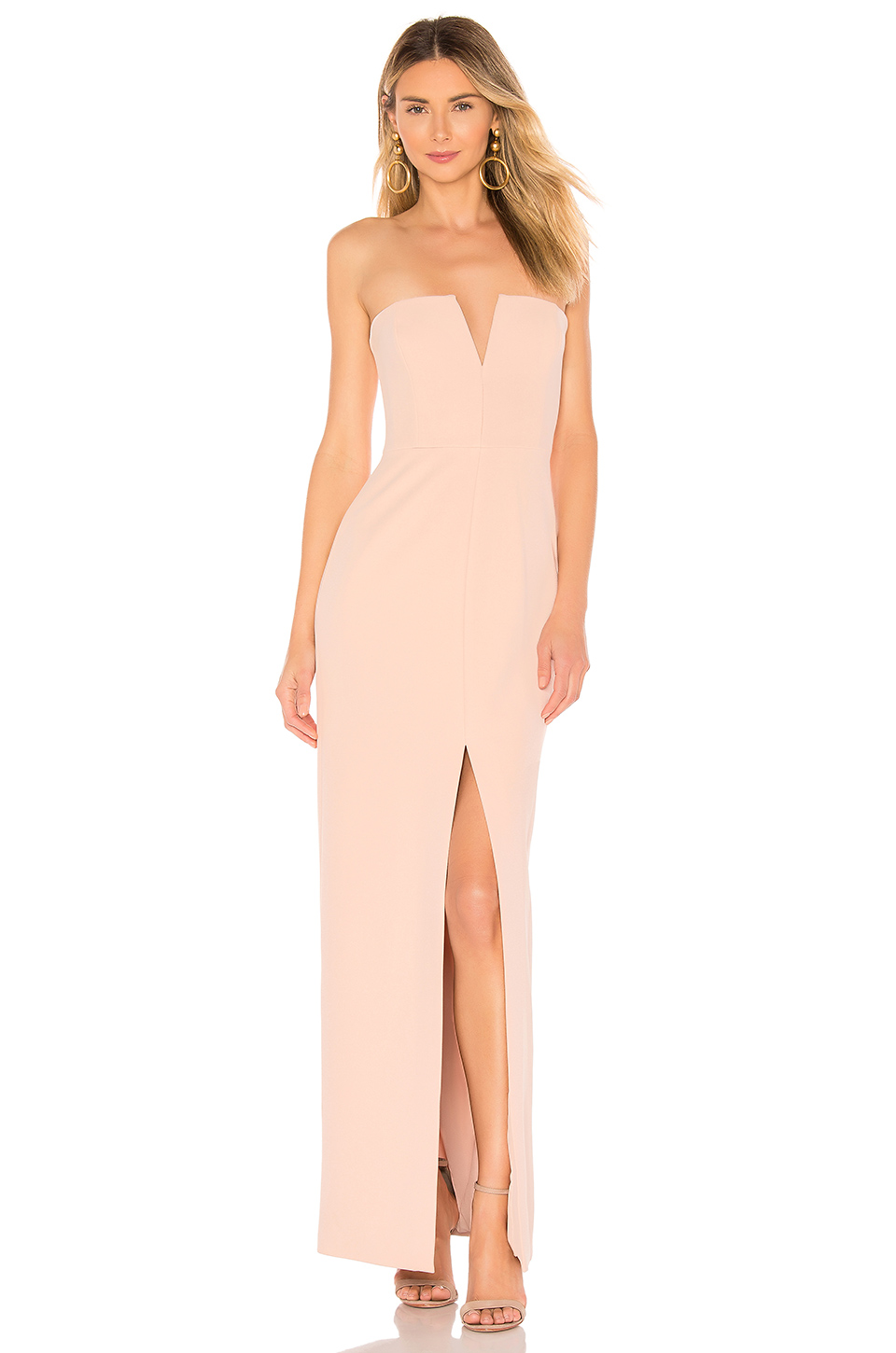 e0b1b6ae032 Bcbgmaxazria Double-Faced Crepe Notched Strapless Gown In Bare Pink ...