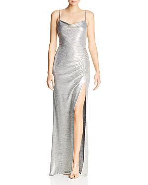 fb7d6c7386f1 Avery G Metallic Knit Drape-Neck Gown In Light Gold | ModeSens