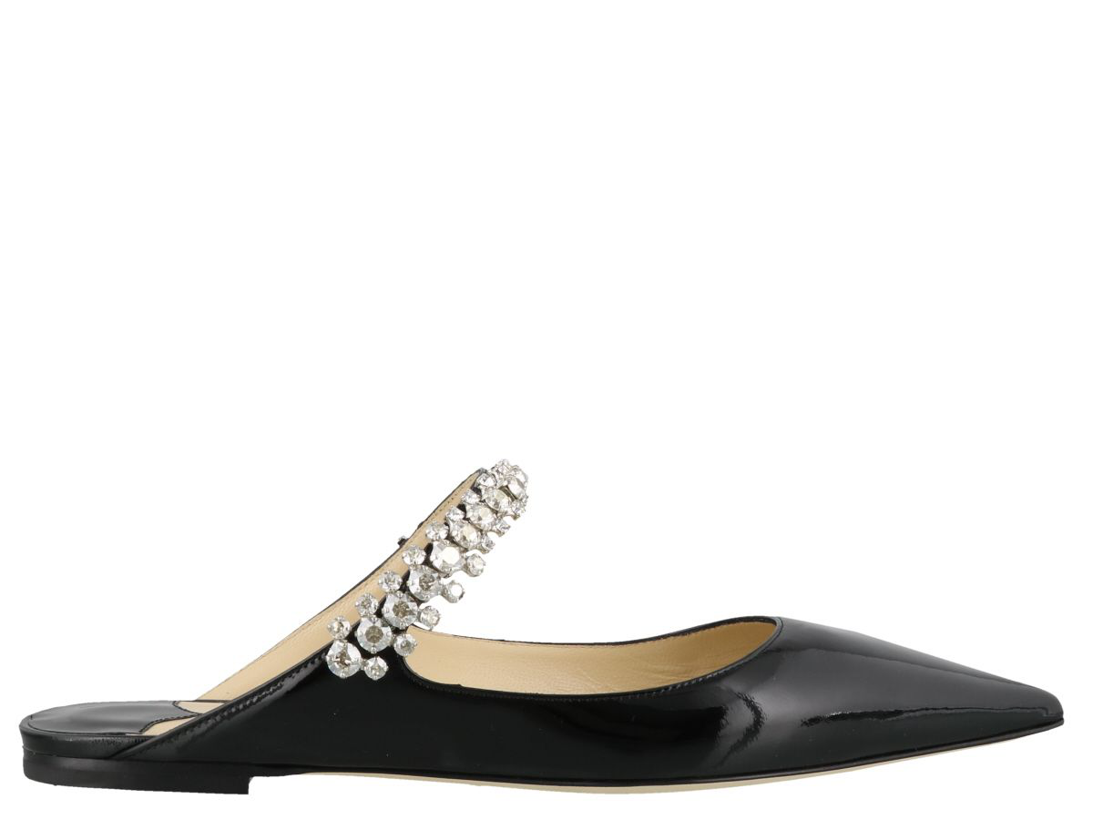 881845ca81ee Jimmy Choo Bing Flat Black Patent Leather Mules With Crystal Strap ...