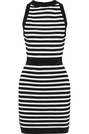 271a9c6b Balmain Woman Striped Stretch-Knit Mini Dress Black | ModeSens