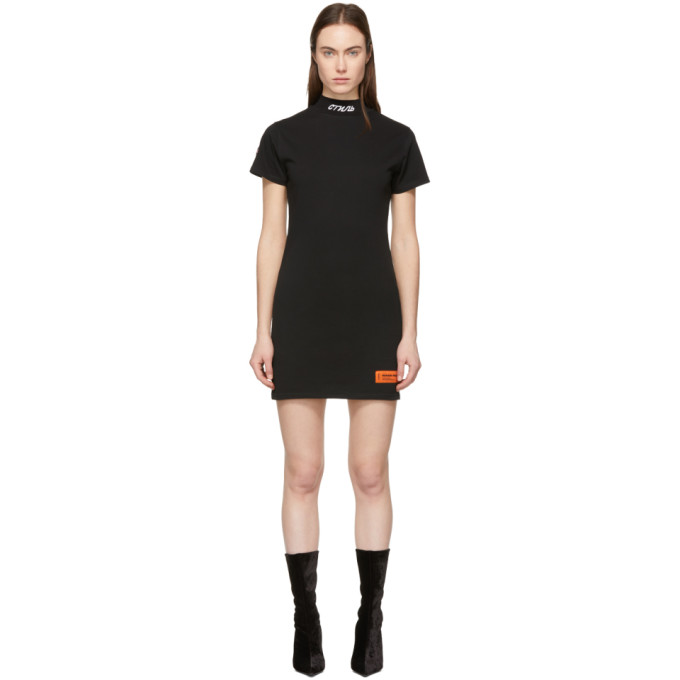 b55730affbde Heron Preston Black Style Mock Neck T-Shirt Dress In Black/White ...
