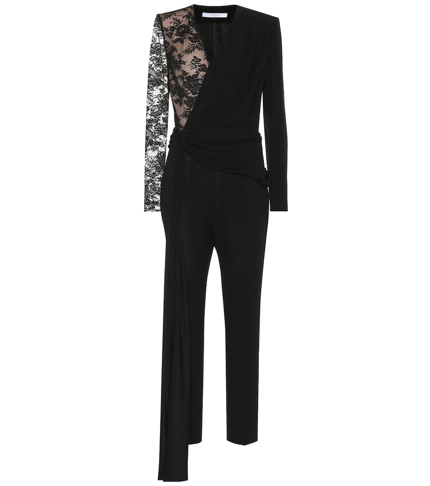 bf533683e35 Givenchy Lace-Panel Silk And Wool Jumpsuit In Black