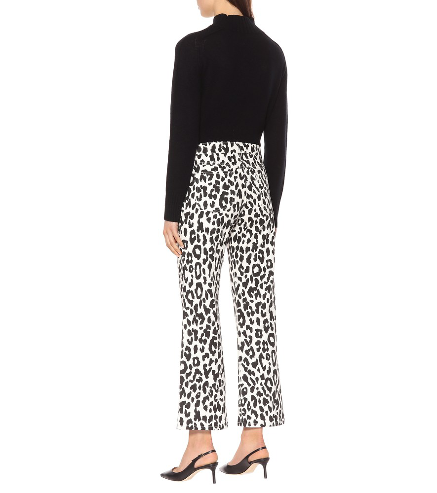 2661f296cc Mid-Rise Cropped Leopard-Print Jeans in Black White