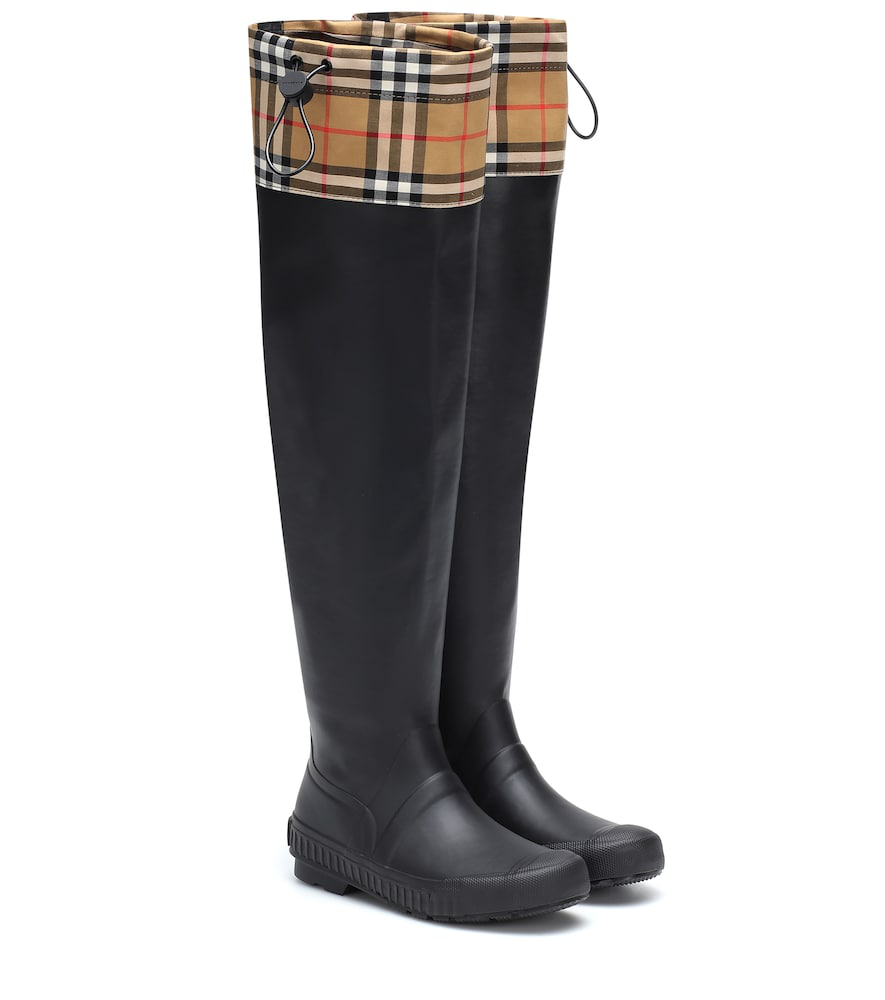 3c172578711 Burberry Women s Freddie Vintage Check Over-The-Knee Rain Boots In Black