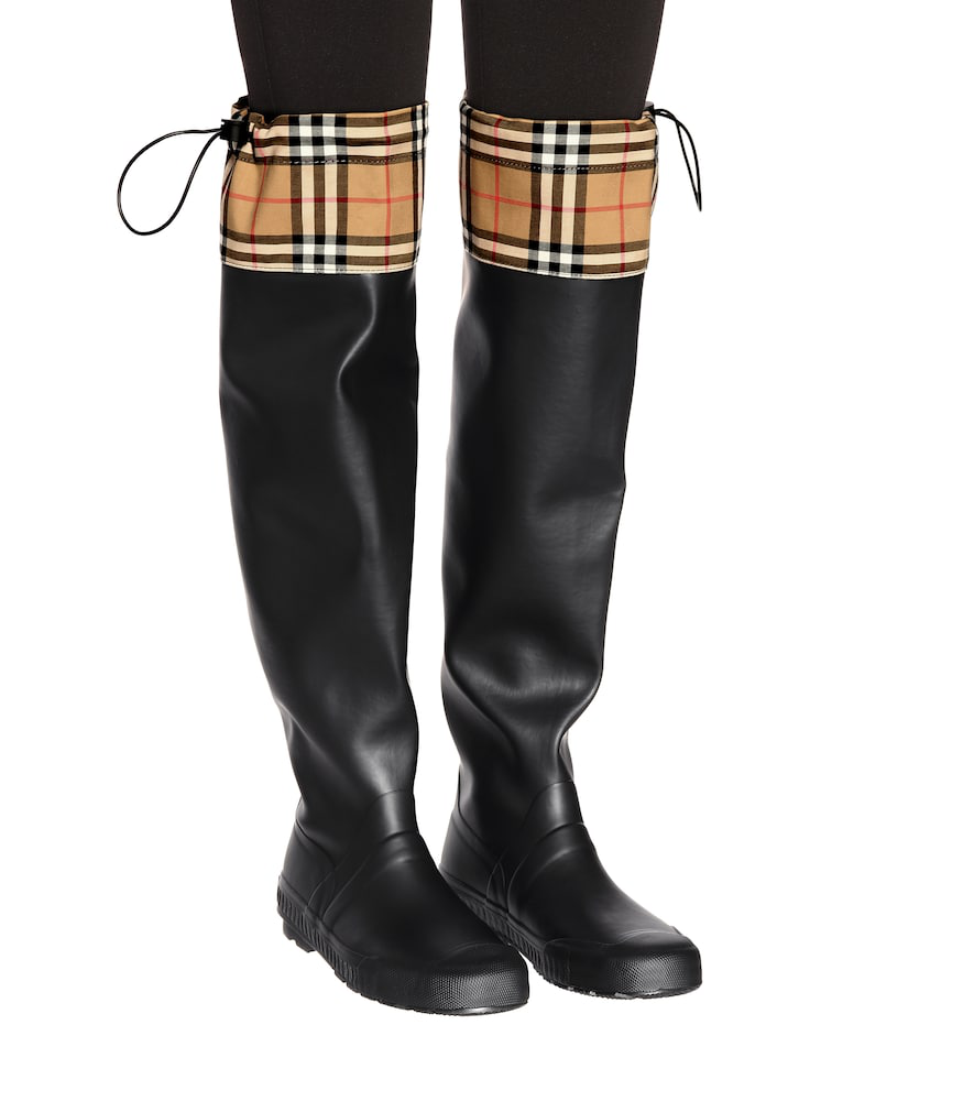 Burberry Women's Freddie Vintage Check Over-The-Knee Rain Boots In Black