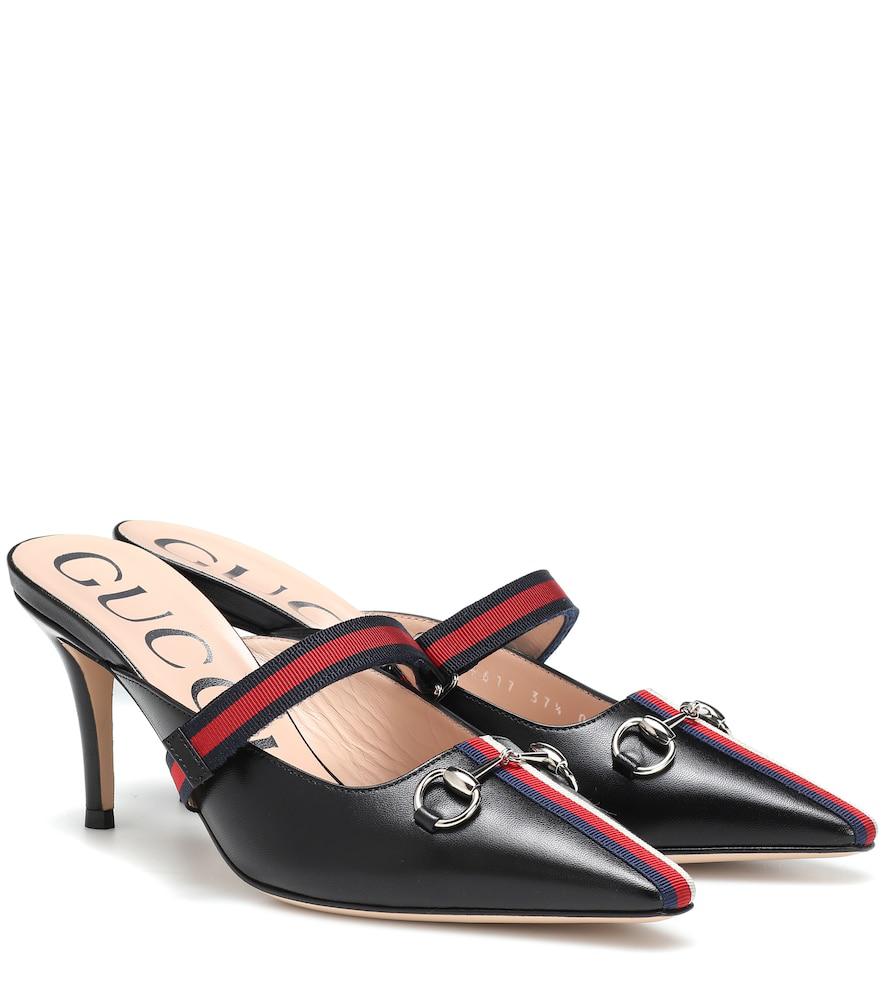 Gucci Horsebit-Detailed Grosgrain-Trimmed Leather Mules In Black
