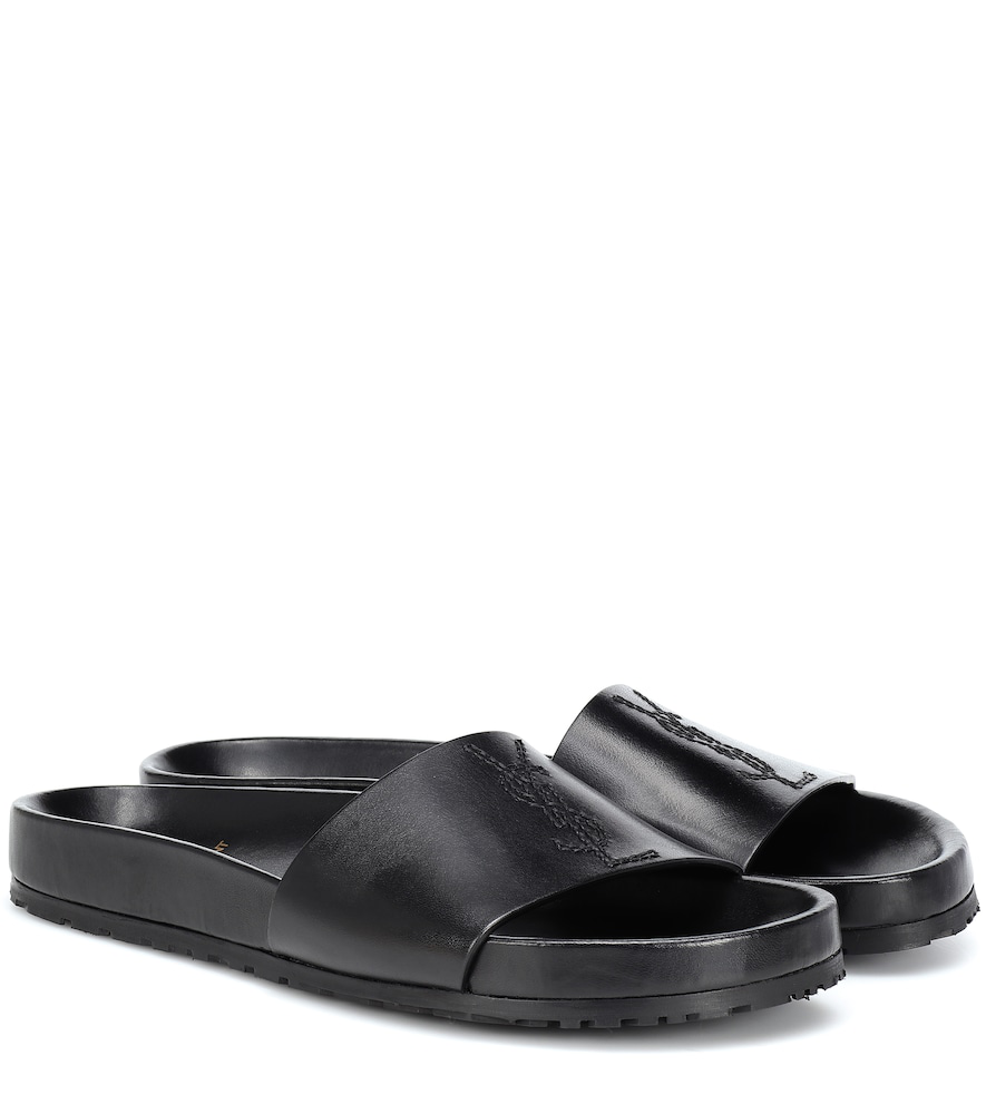 319776d8d Saint Laurent Joan Ysl Brooch Sport Slide Sandals