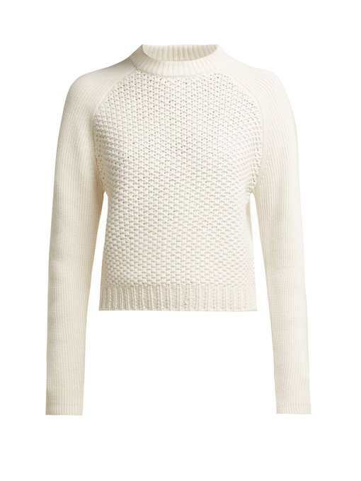 78f0d55571f7 ChloÉ Chunky Wool Long Sleeve Knit Pullover In White