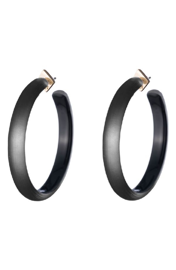 b07d300b62981 Large Lucite Hoop Earrings in Black