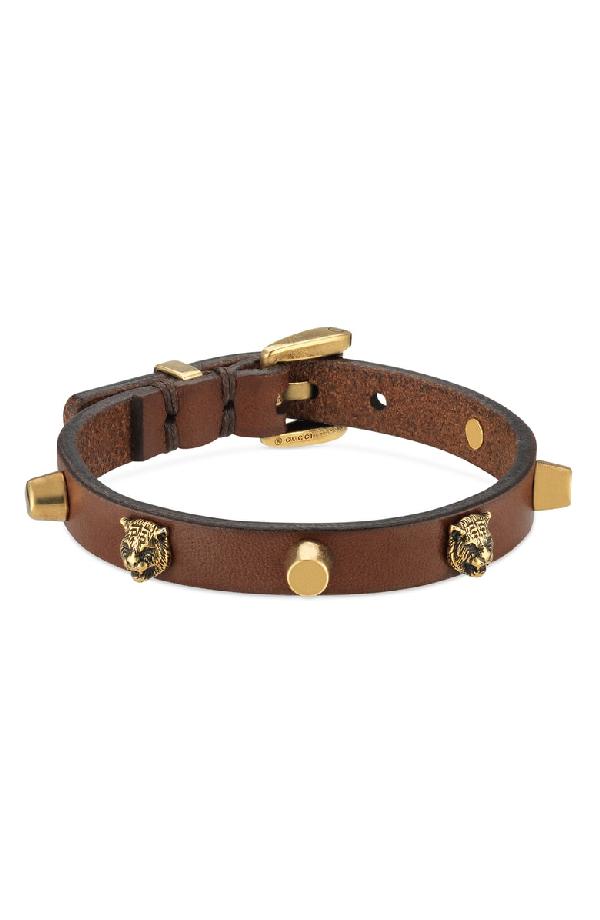 6d386e559 Gucci Feline Head Stud Leather Bracelet In Brown | ModeSens