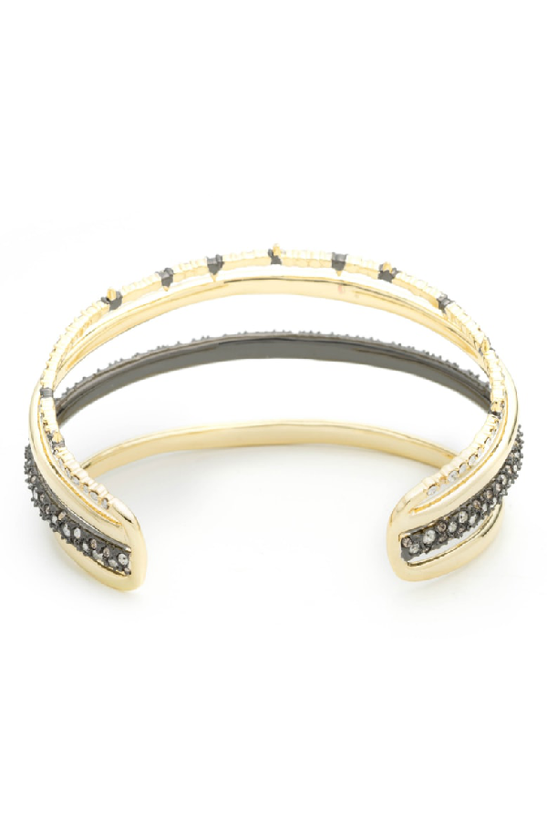 Alexis Bittar Orbit Four-Row Crystal Cuff Bracelet In Gold With Ruthenium