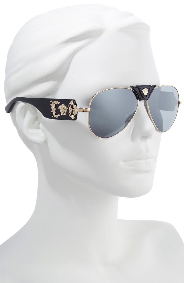 a24b30e7247 Versace Medusa 62Mm Aviator Sunglasses - Pale Gold  Black Mirror ...