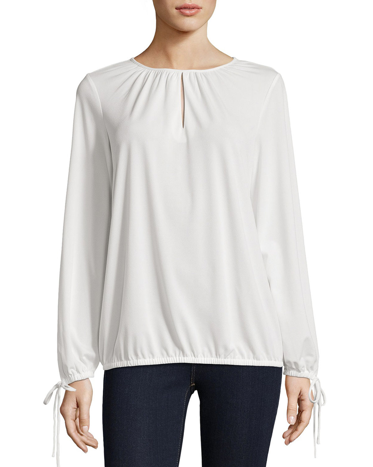 126d64a043673 5Twelve Long-Sleeve Ruched Keyhole Blouse In White
