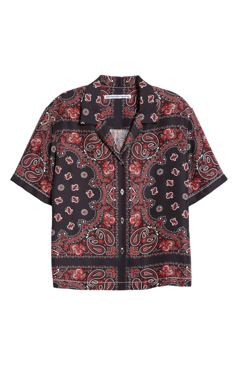c8f9a08d9371e Alexander Wang Black Red Silk Bandana Print Button Down Shirt