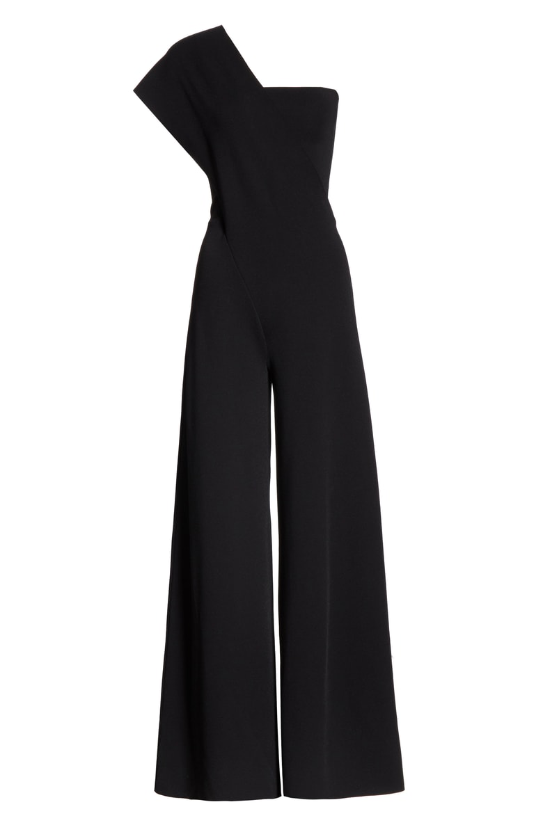 6c8a61615a53 Stella Mccartney One-Shoulder Drop Wide-Leg Jersey Jumpsuit In Black ...