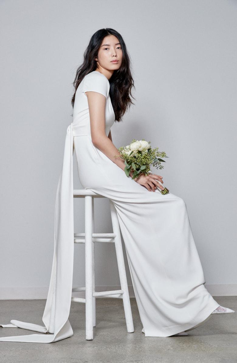 6a17e23fa3c Stella Mccartney F18 Rose Cap Sleeve Wedding Dress In White
