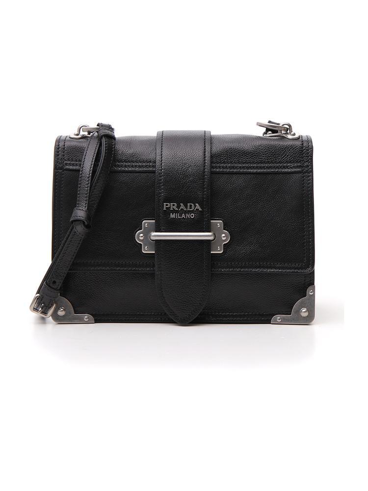 c4736ec827f3 Prada Cahier Leather Shoulder Bag In Black
