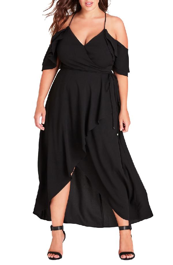 City Chic Trendy Plus Size Cold-Shoulder Maxi Dress In Black | ModeSens