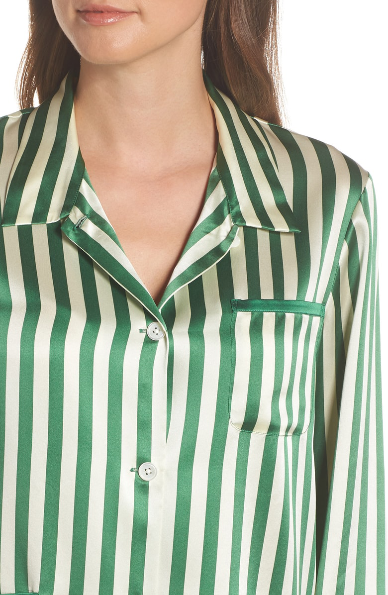 495bed3af30c9 Morgan Lane Ruthie Striped Silk-Charmeuse Pajama Shirt In Emerald ...
