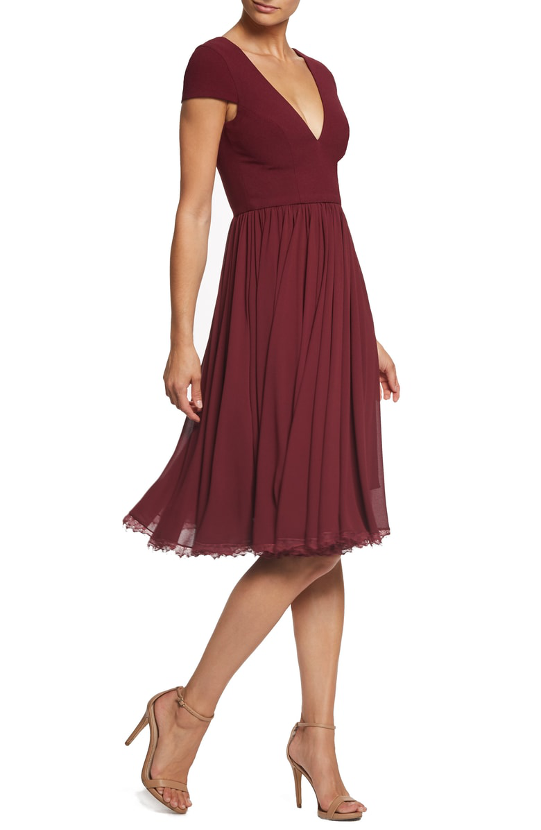 800abe355eb1 Dress The Population Catalina Tea Length Fit   Flare Dress In Burgundy
