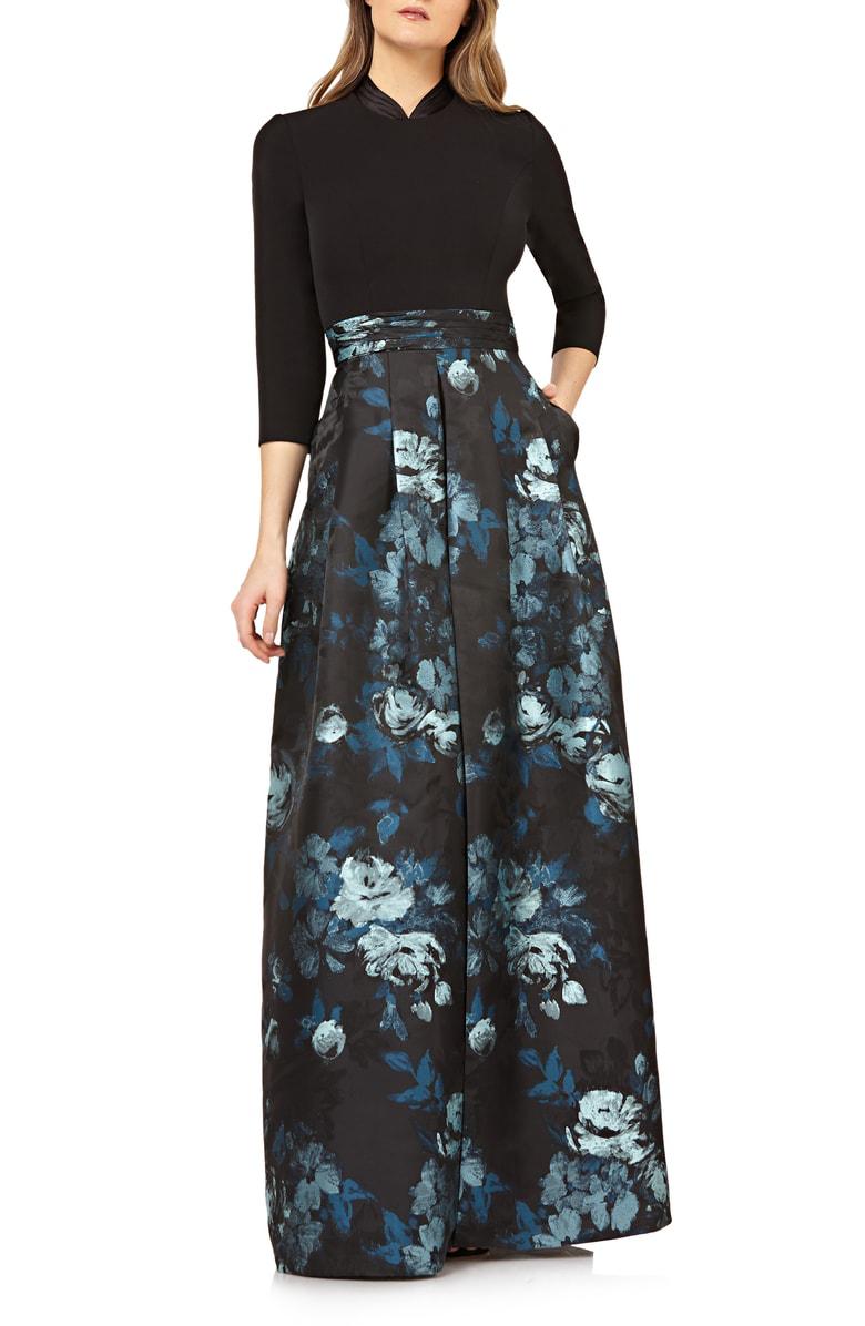 41edd5a691 Kay Unger Crepe Jumpsuit W  Floral Skirt Overlay