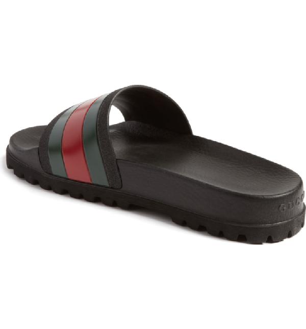 Gucci Web Striped Rubber Slide Sandals In Black