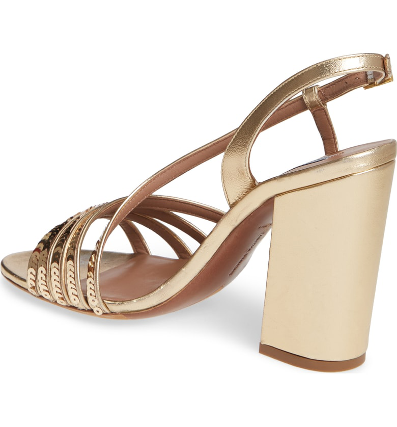 f14d58ba128b Tabitha Simmons Women s Viola Sequin Strappy High Block-Heel Sandals In Gold