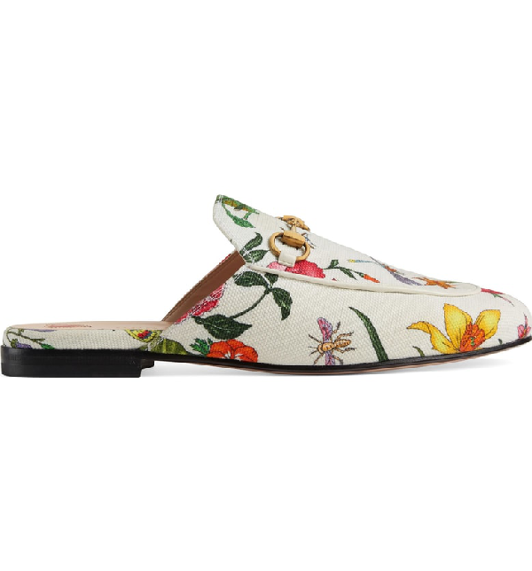 Gucci Princetown Horsebit-Detailed Floral-Print Canvas Slippers In White