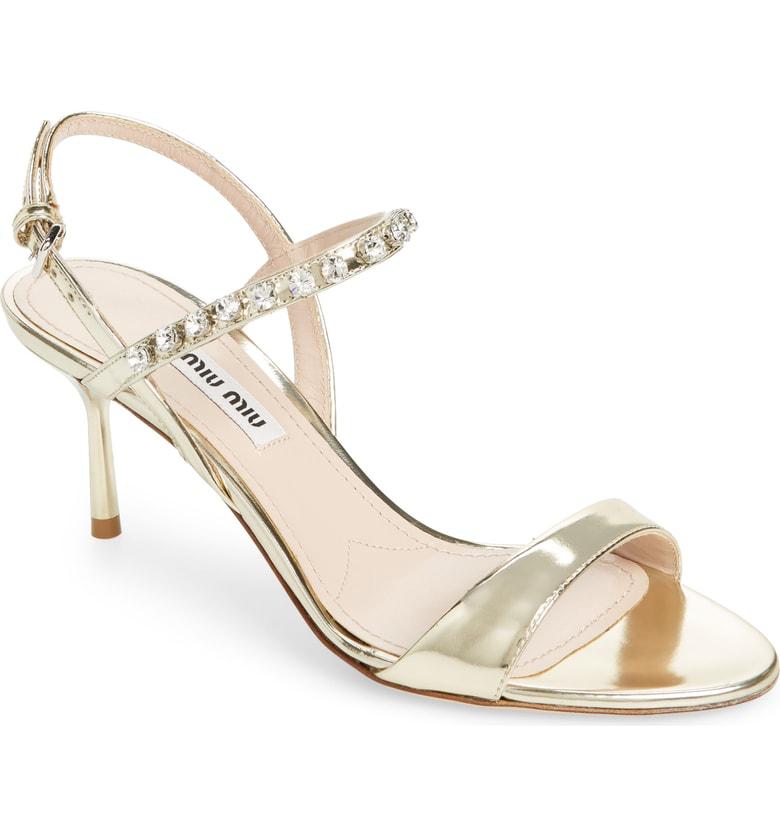 e2d1ae799db4fa Miu Miu Embellished Metallic Leather Slingback Sandals In Pirite ...
