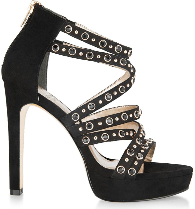 e96ad874ca58 Adrianna Papell Malia Crystal Embellished Platform Sandal In Black Studded  Fabric