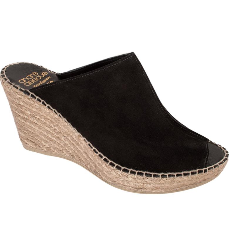 1e1593168ada ANDRE ASSOUS. Women s Cici Platform Wedge Espadrille Slide Sandals in Black  Suede