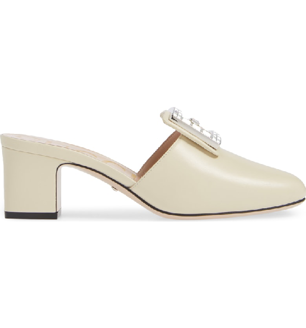 e656bcfb766 Gucci Madelyn 55Mm Leather Mules With Square G In Vintage White Leather