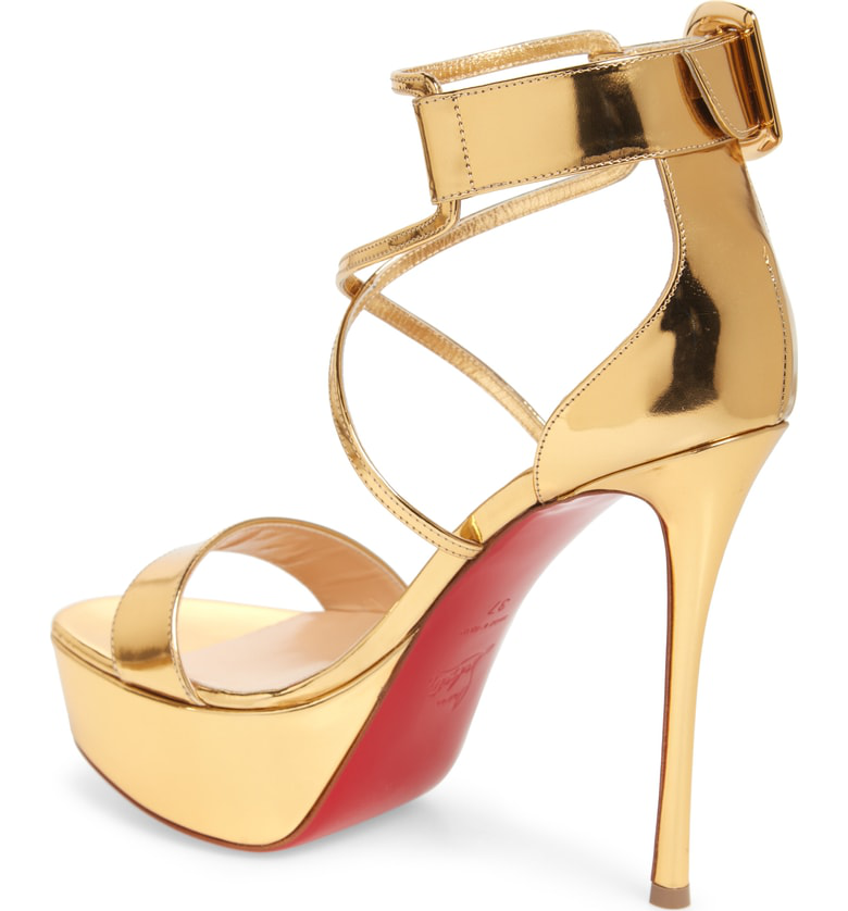 0caf257b1d64 Christian Louboutin Choca 130 Mirrored Leather Platform Sandals In Gold