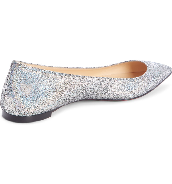 5f6bafa57b13 Christian Louboutin Ballalla Iridescent Glittered Leather Point-Toe Flats  In Silver