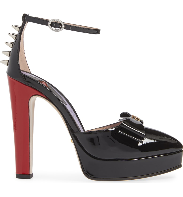 4e87dcf9dc9 Gucci Patent Leather Pump With Bow In Black Patent Leather