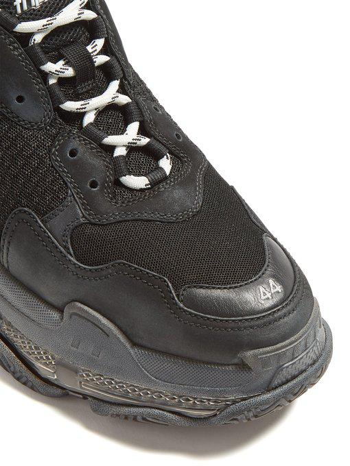Balenciaga Low-Top Sneakers Triple S  Calfskin Lambskin  Polyester Logo Black-Combo