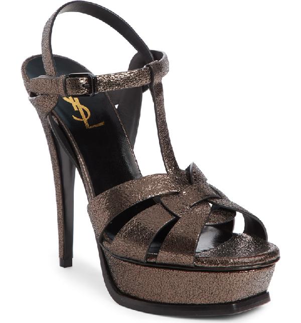 004e7fc3638 Saint Laurent Tribute Speckled Metallic Platform Sandals In Black ...