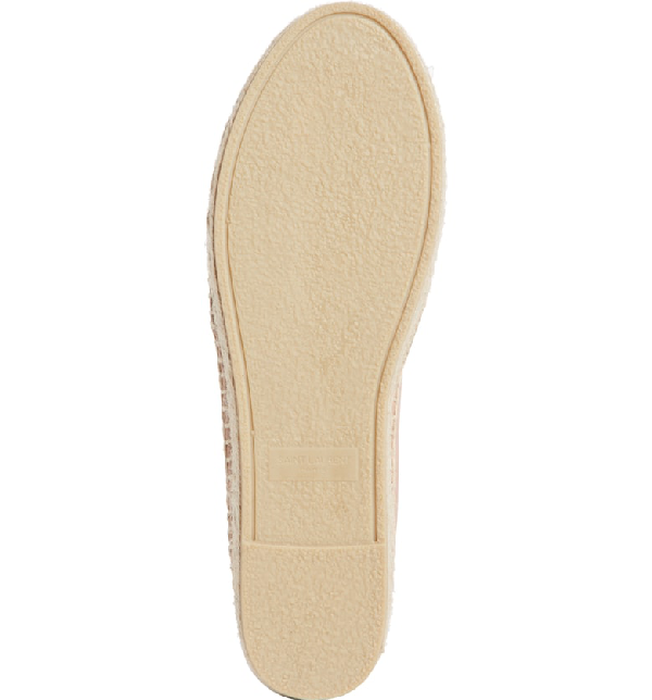 Saint Laurent Nude Leather Espadrilles With Embossed Logo In Pink